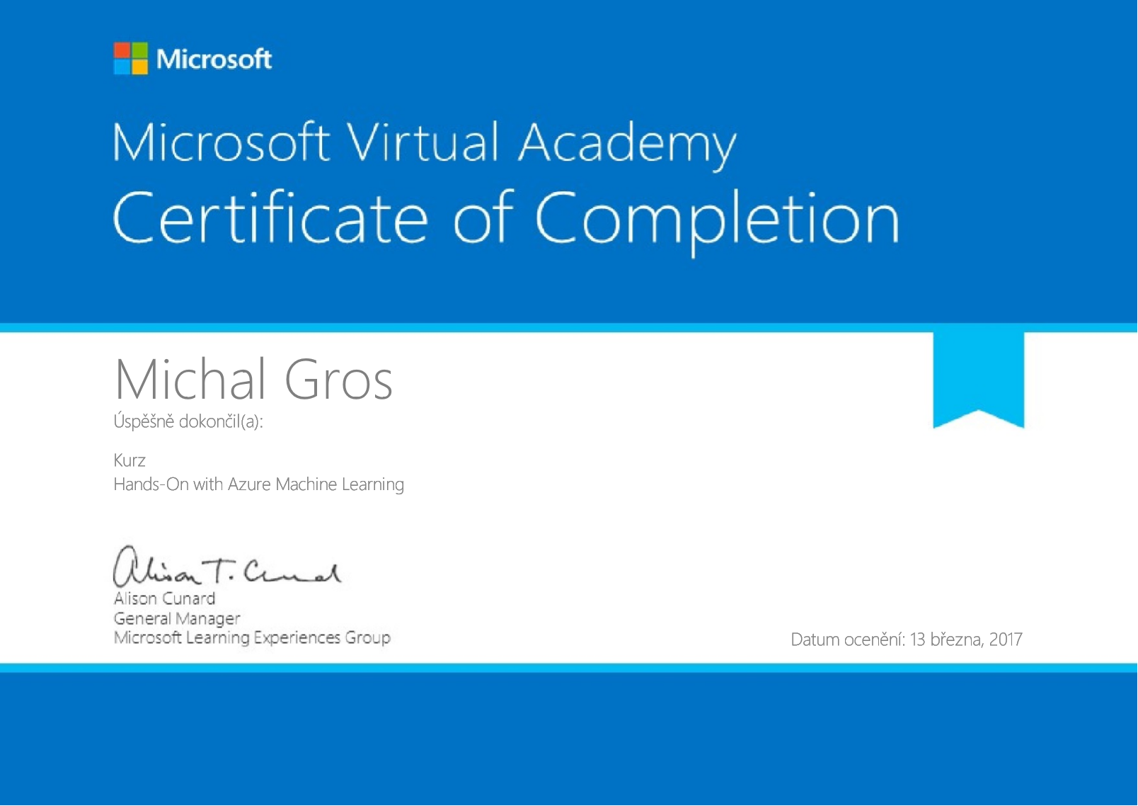 Certifikát Mictrosoft - Hands-On with Azure Machine Learning 2017